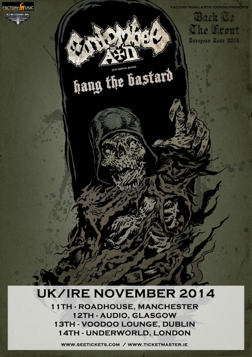 Entombed A.D. Hang The Bastard November 2014 UK Tour Poster
